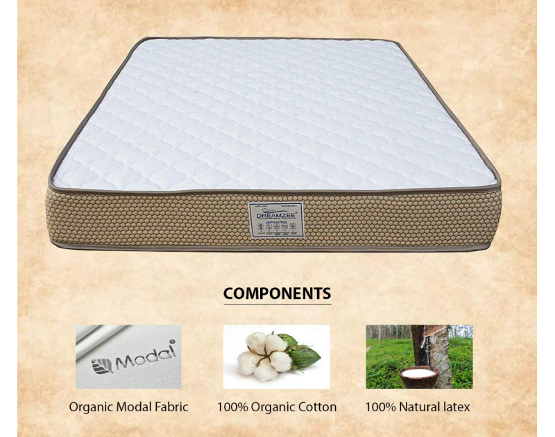 Dreamzee 100% Natural Latex Plus Pocket Spring Certified Hybrid Luxurious Mattress - Soft Comfort