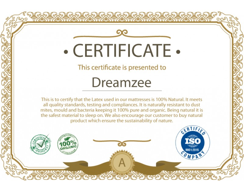 Dreamzee 100% Natural Latex Certified Mattress - Medium Comfort