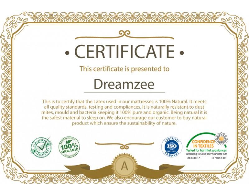 Dreamzee 100% Natural Latex Certified Mattress - Medium Comfort